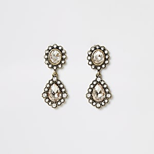 Gold colour gem antique drop earrings