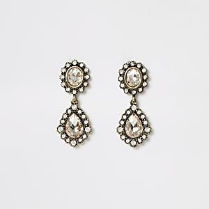 Gold colour gem antique drop earrings