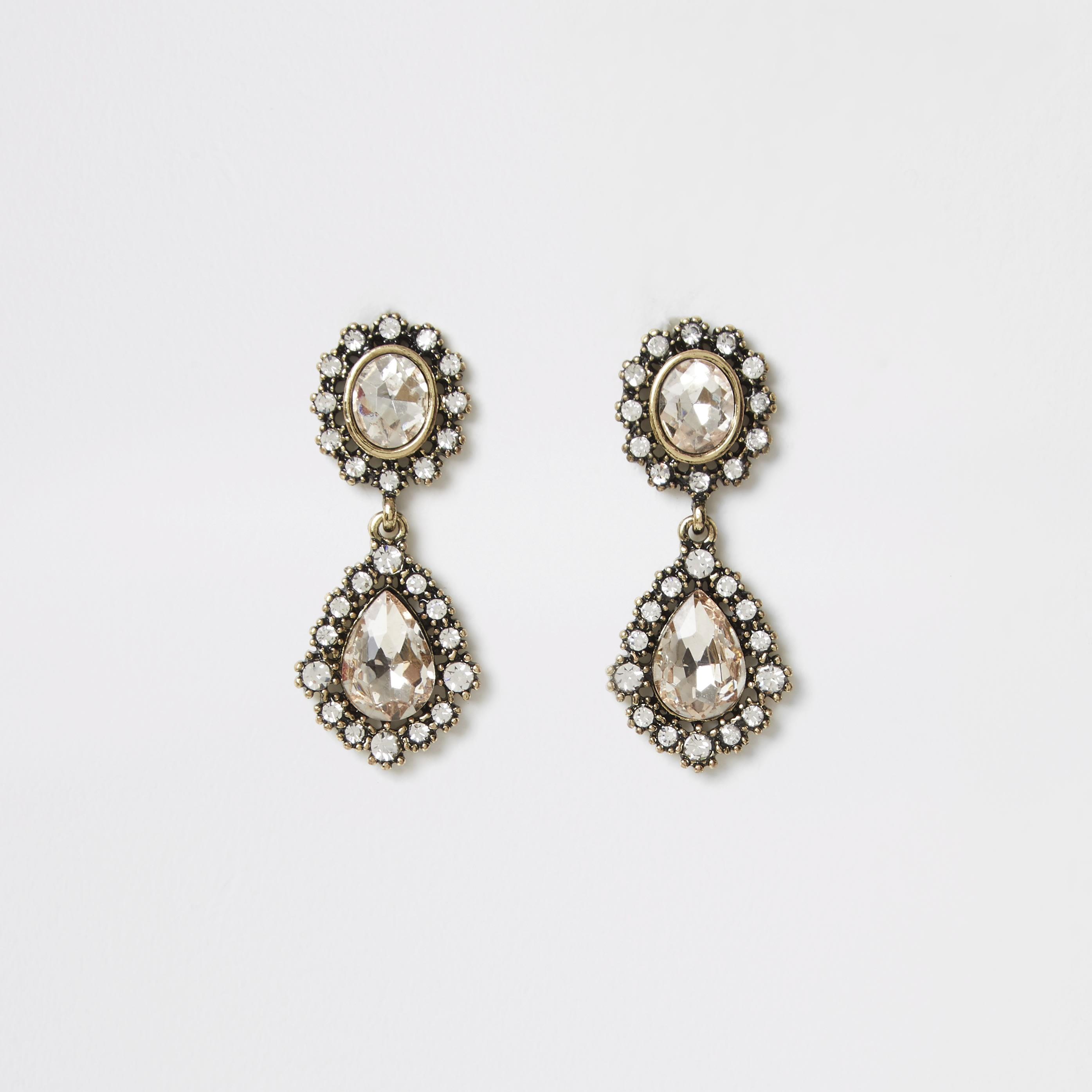 RIVER ISLAND | Womens Gold colour gem antique drop earrings | Goxip