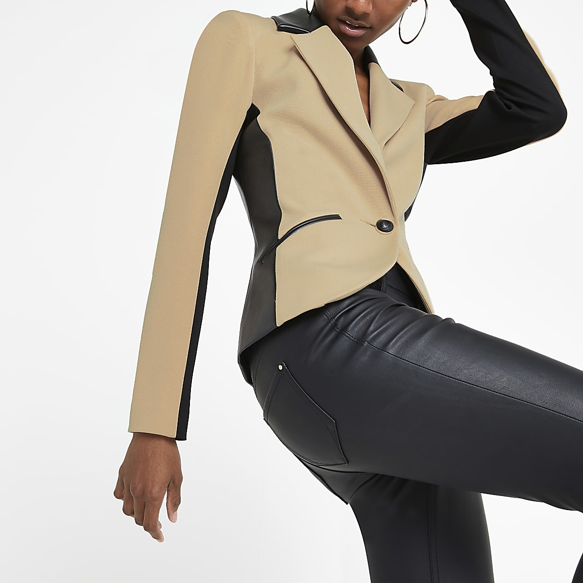 Beige faux leather trim blazer
