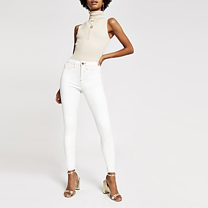 Off white Molly coated mid rise jeggings