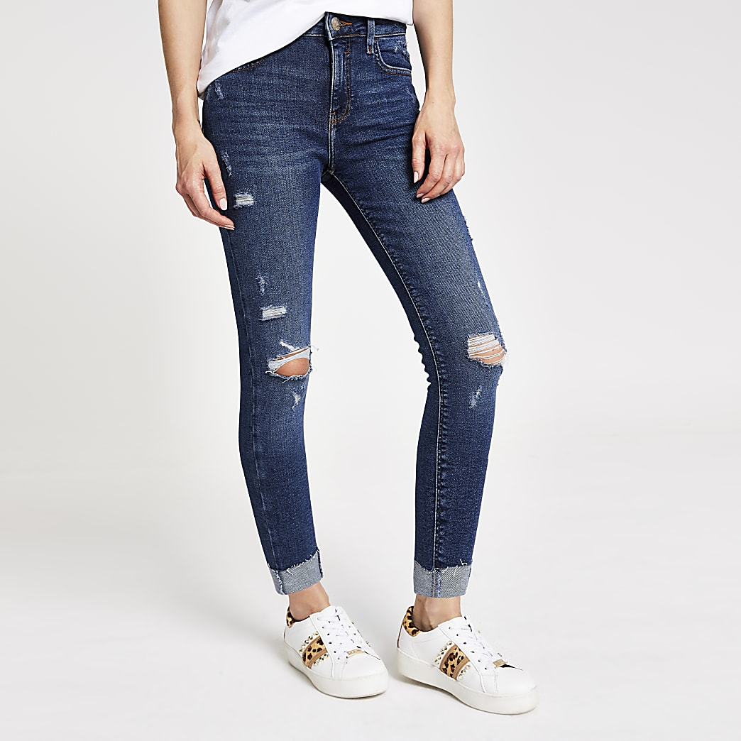 Amelie - Donkerblauwe ripped superskinny jeans