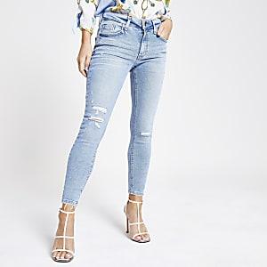 Petite – Amelie – Mittelblaue Super Skinny Jeans