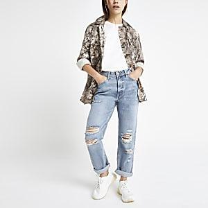 RI Petite - Lichtblauwe Mom ripped jeans