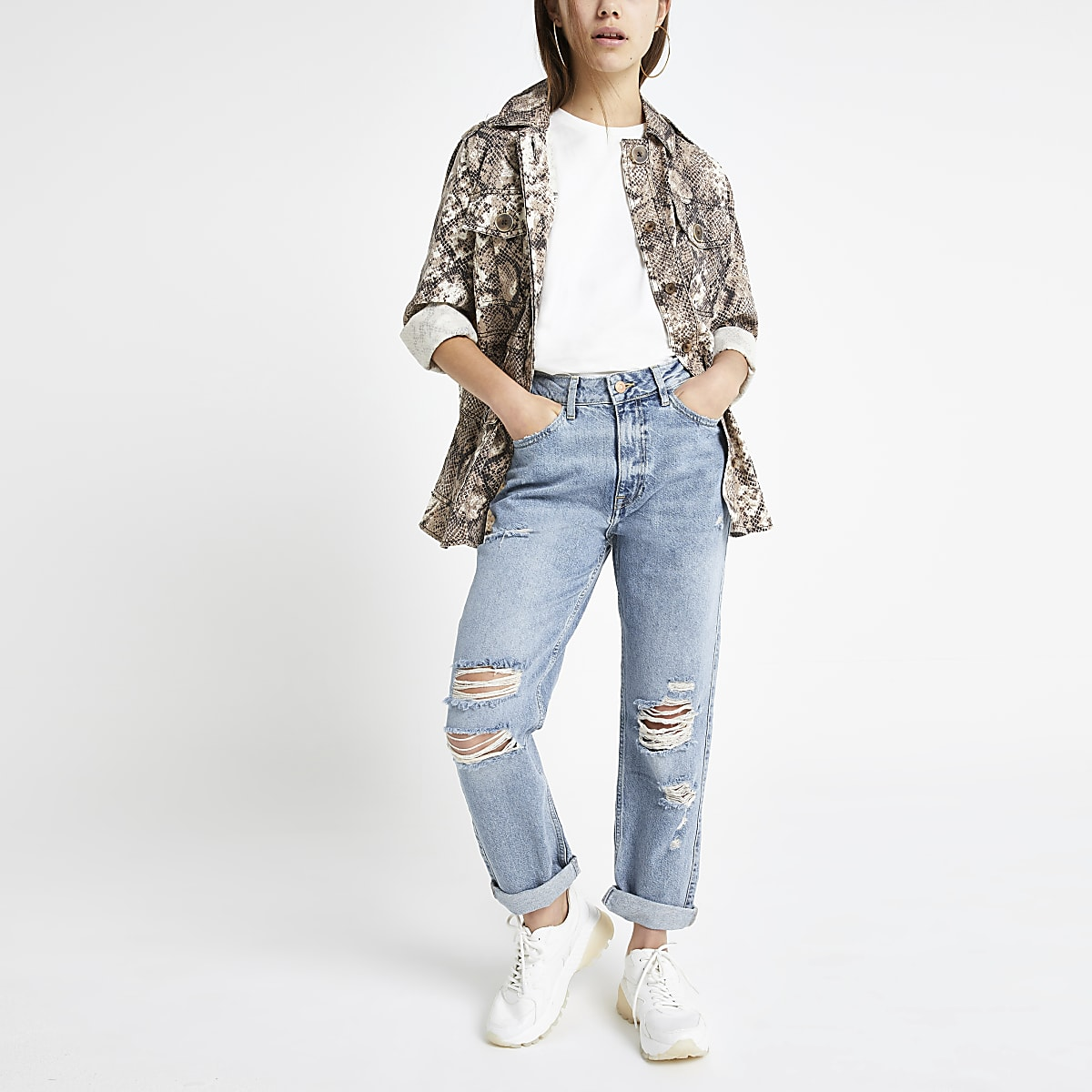 Petite light blue Mom ripped jeans