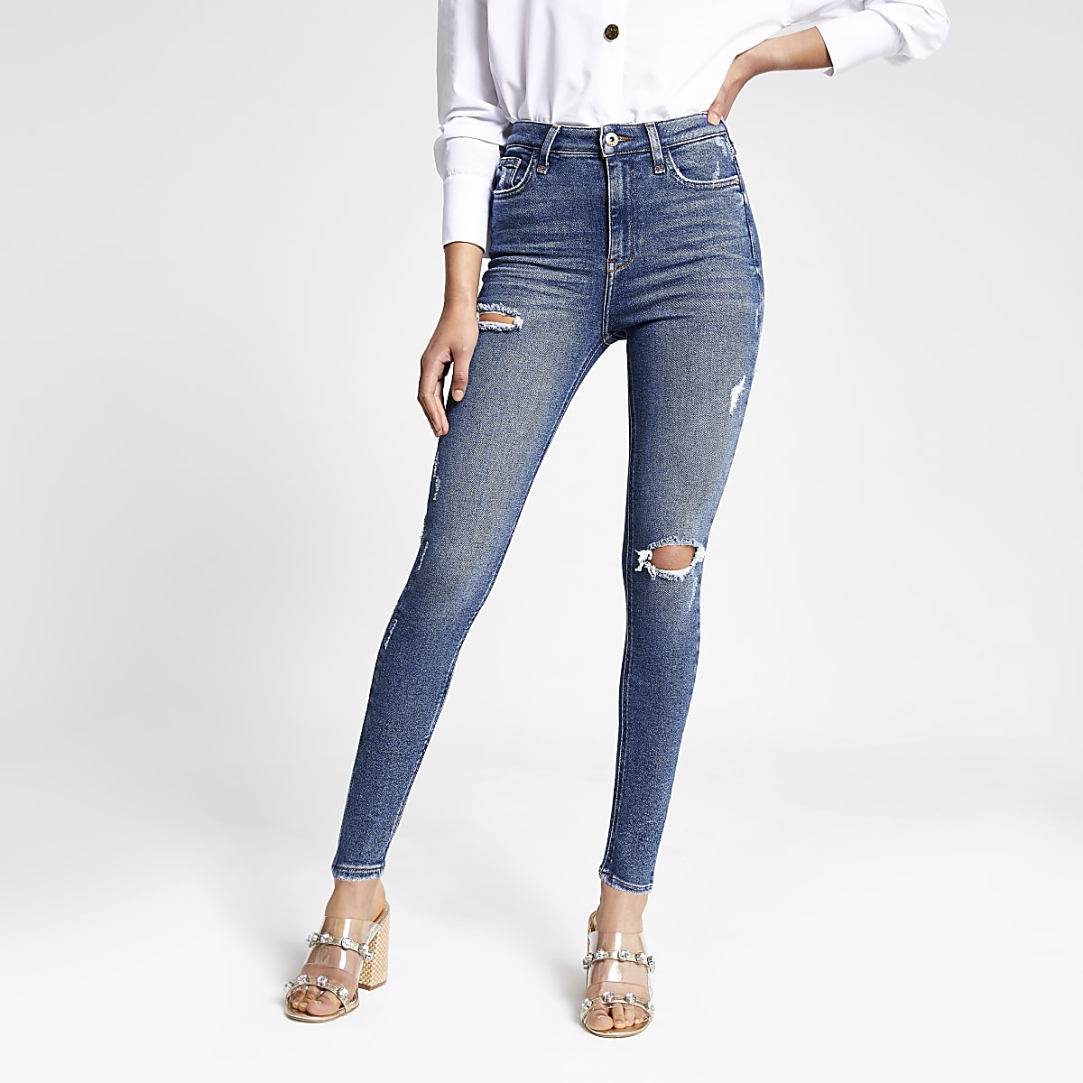 Hailey - Ripped jeans van authentiek denim met hoge taille
