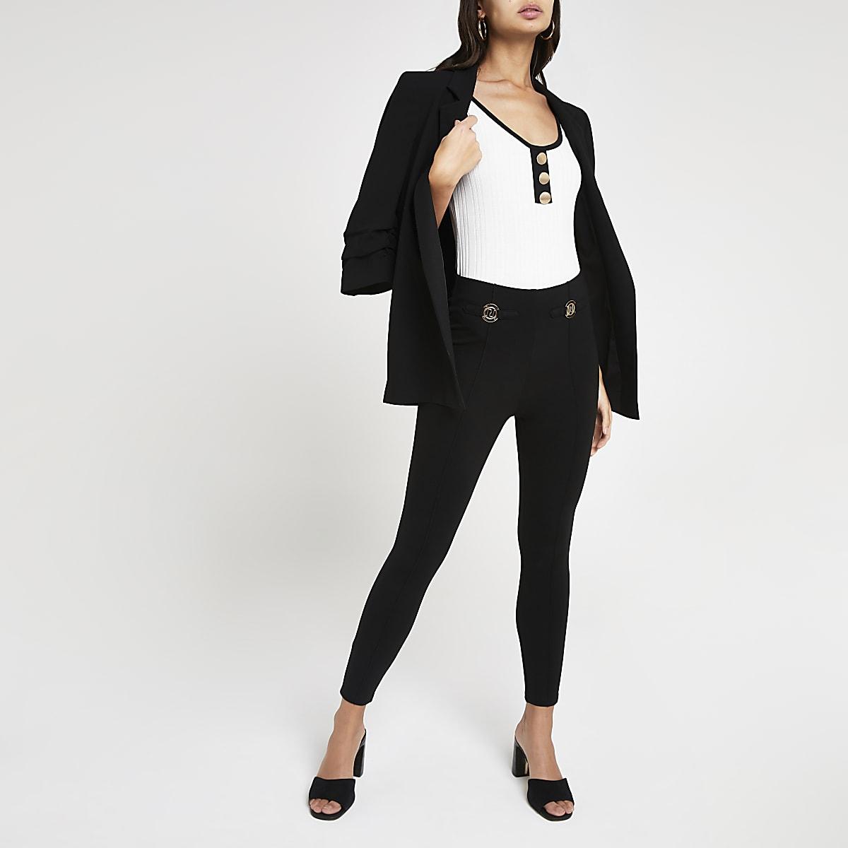 White ribbed monochrome bodysuit