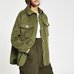 Petite khaki button front overshirt