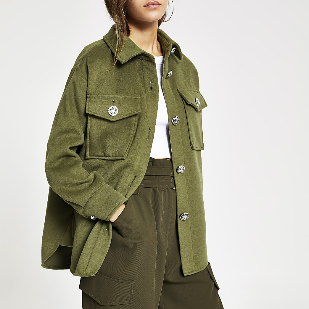 Petite khaki button front jacket