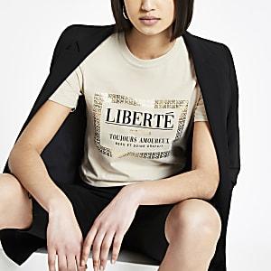 Beige T-shirt met vierkante folieprint