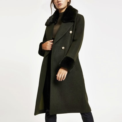 Petite khaki faux fur trim belted coat