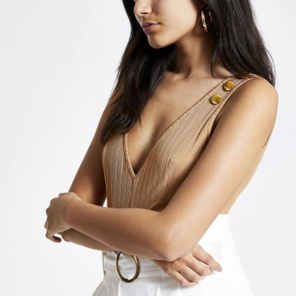 Beige ribbed button detail bodysuit