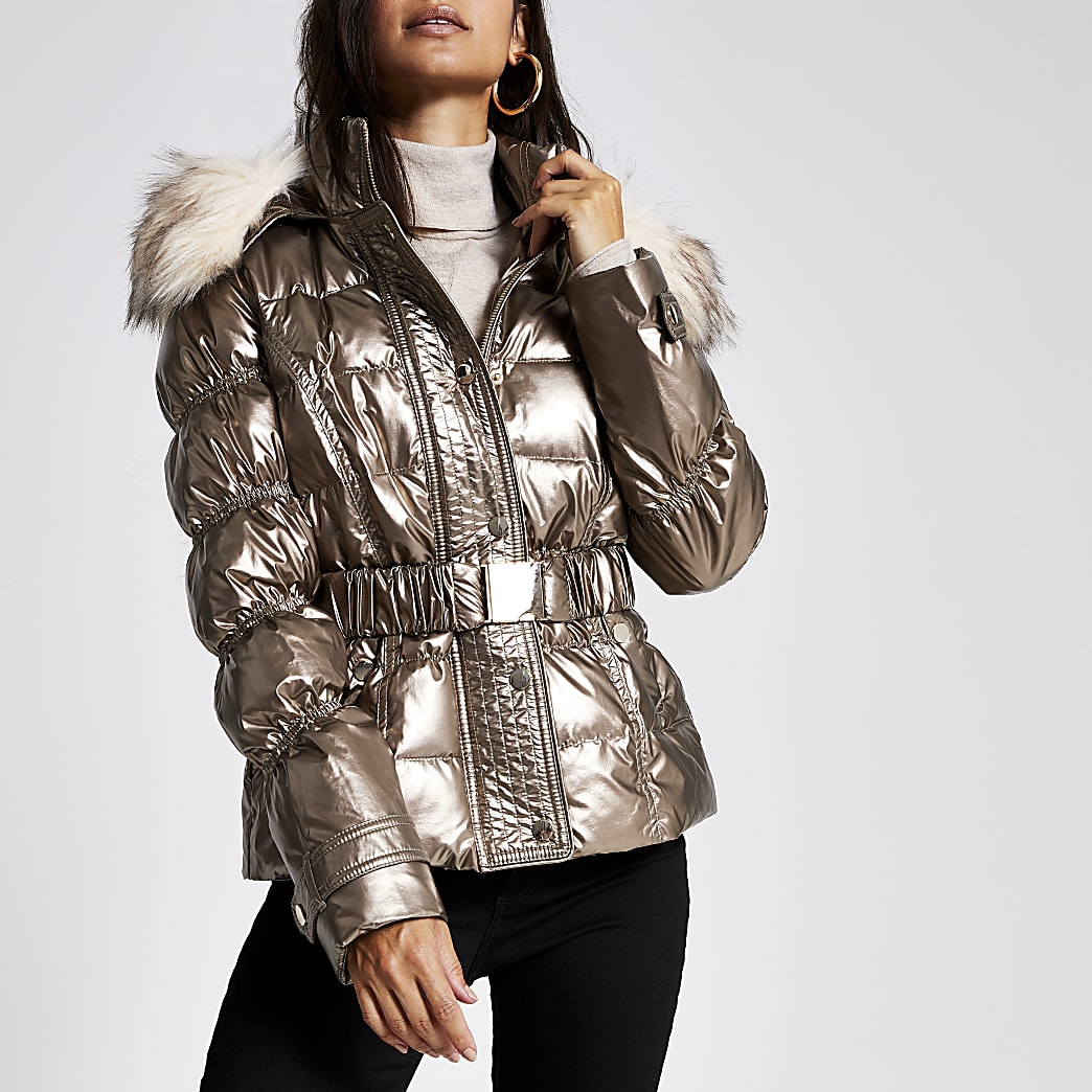 Petite bronze quilted faux fur hood jacket