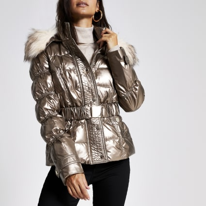 Petite bronze quilted faux fur hood jacket