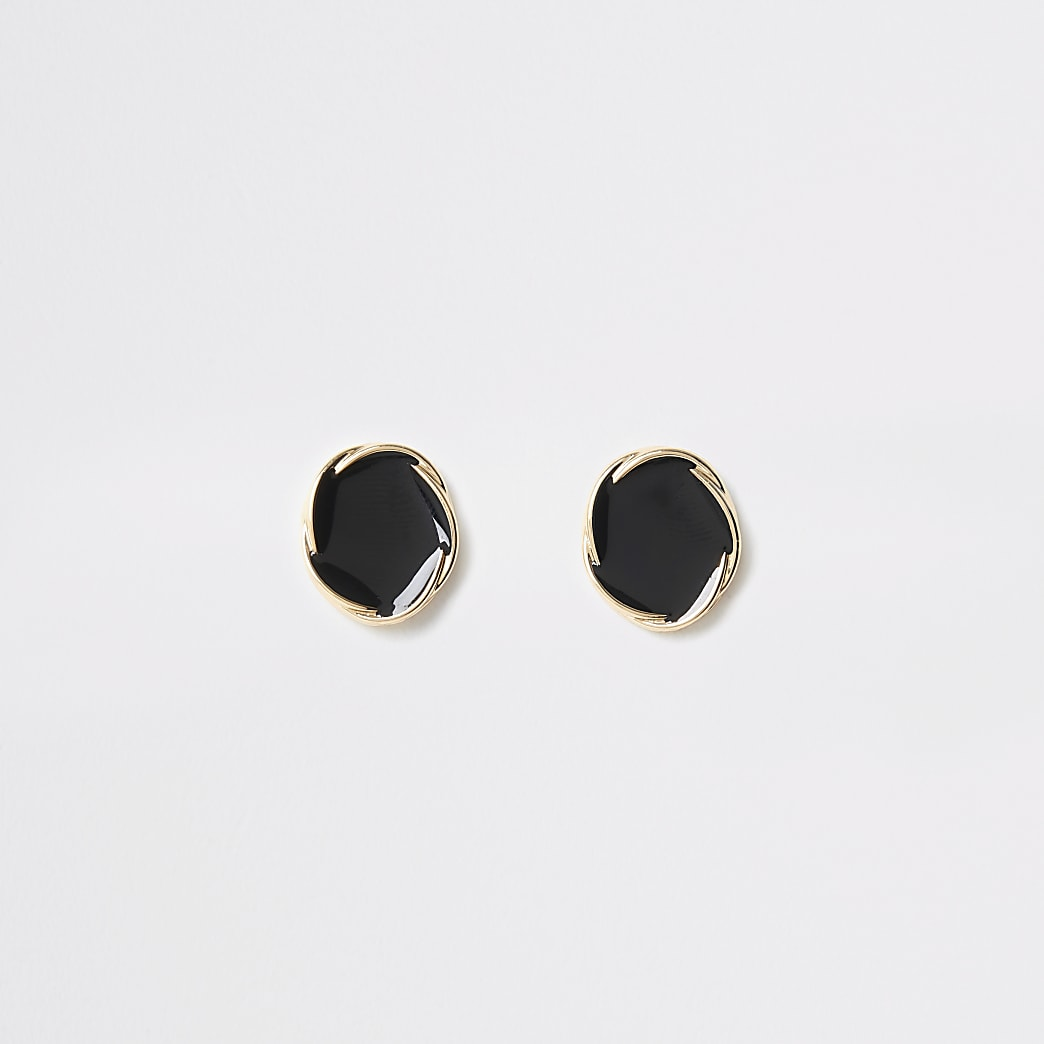 Gold colour twist stud earrings