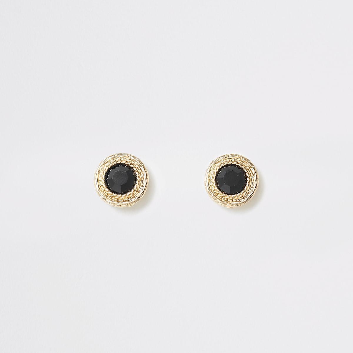 Gold color jewel stud earrings