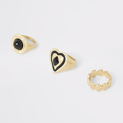 Gold colour heart ring multipack