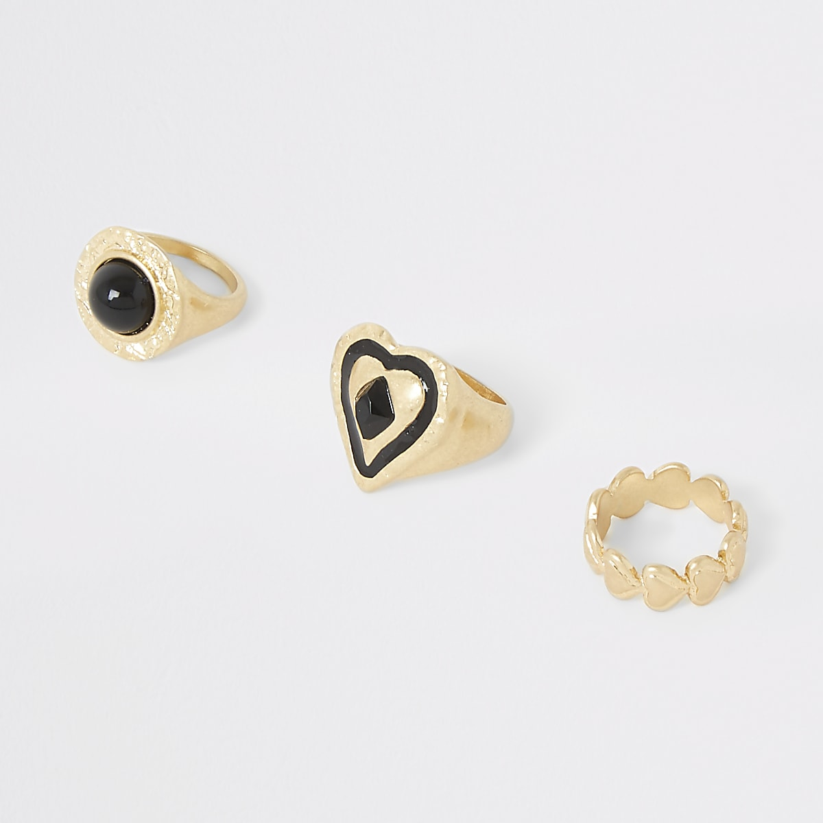Gold color heart ring multipack