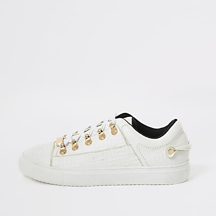 White RI embossed lace-up trainers