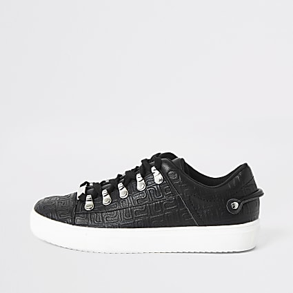 Black RI embossed lace-up trainers