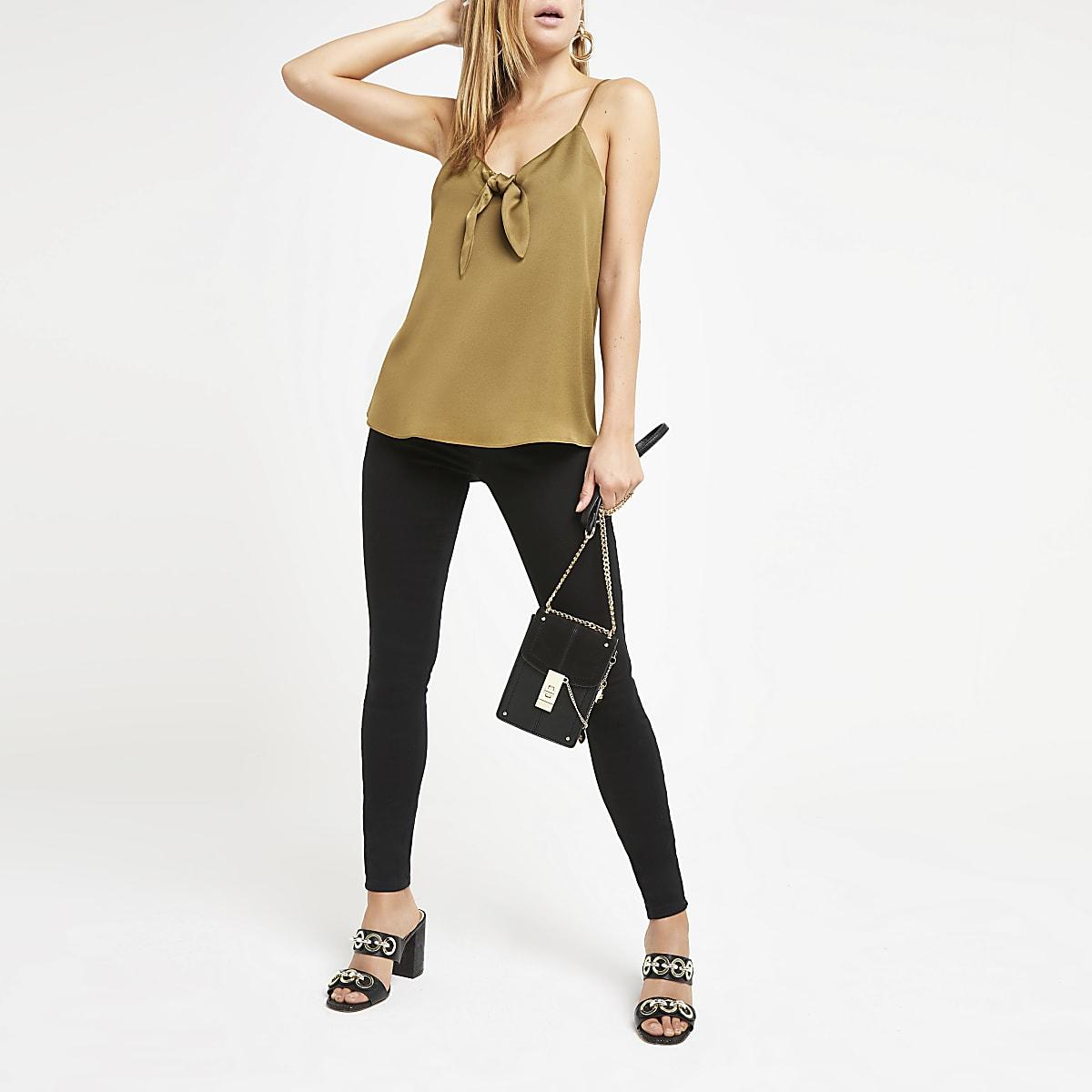 Khaki bow front cami top