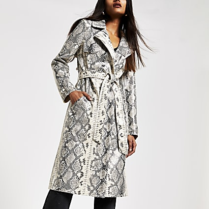 Petite cream snake print patent trench coat