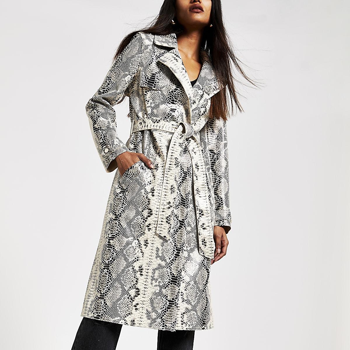 Petite cream snake print patent trench coat