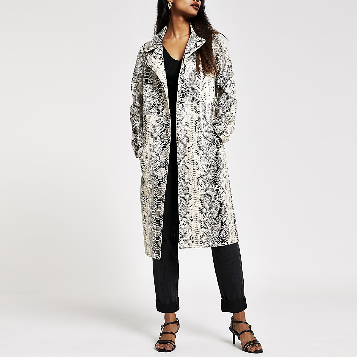 big sale 50% off excellent quality Petite cream snake print patent trench coat