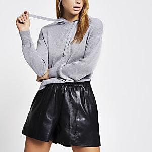 Silver metallic knitted hoodie