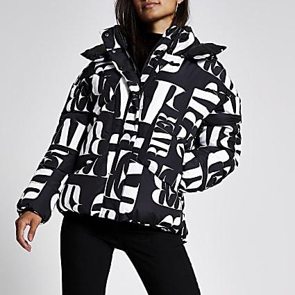 Petite black RI printed puffer coat