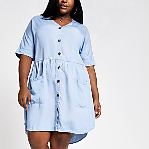 Plus blue denim swing dress