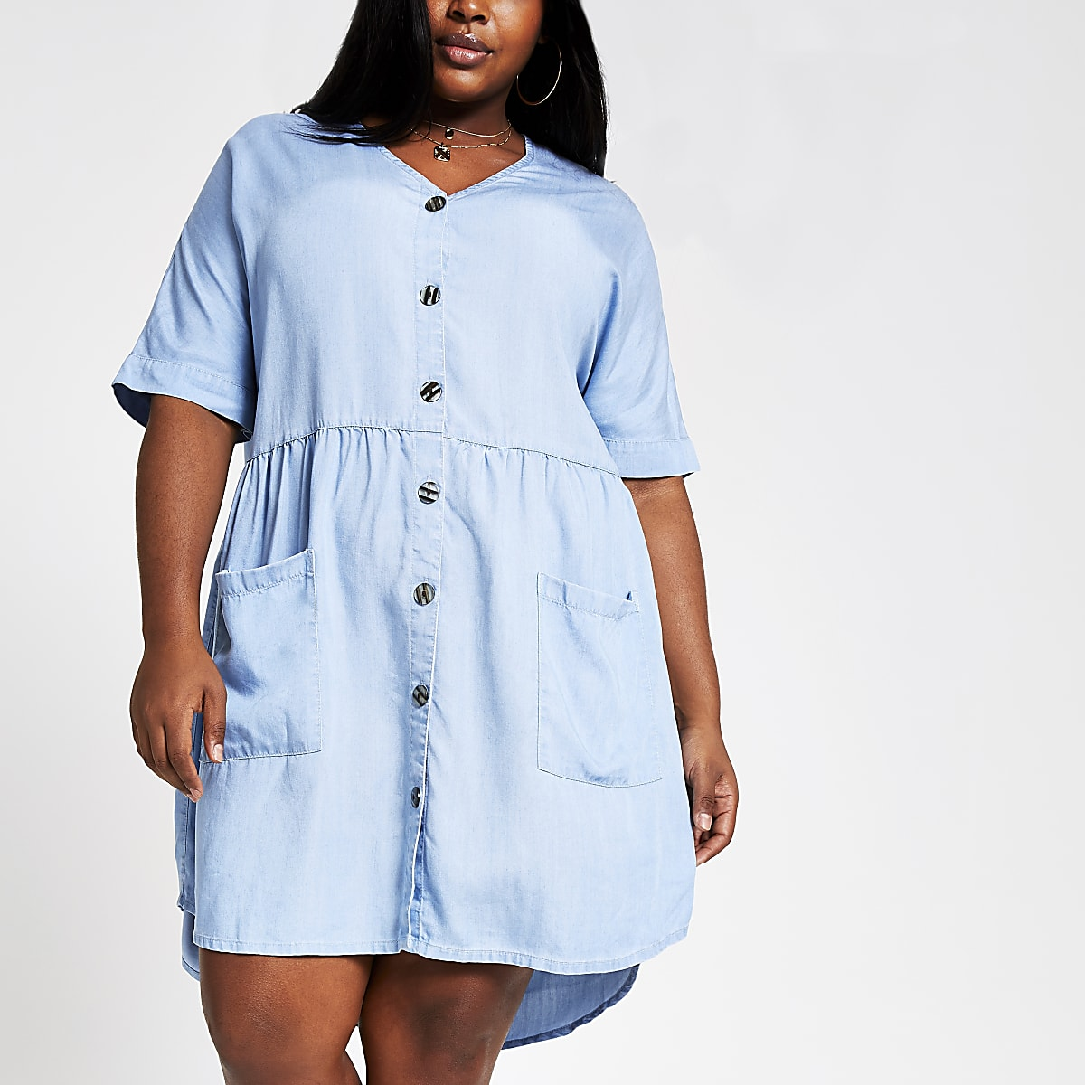 Plus blue denim swing dress