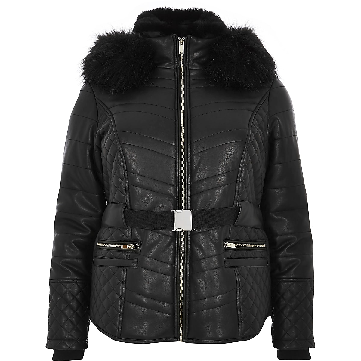 hoard as a rare commodity free delivery big collection Plus black faux fur hood belted padded coat