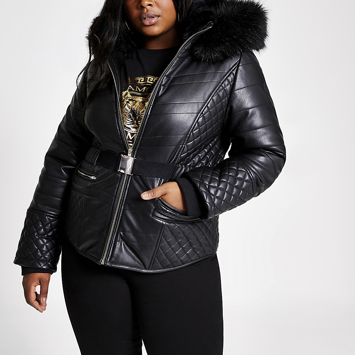 Plus black faux fur hood belted padded coat
