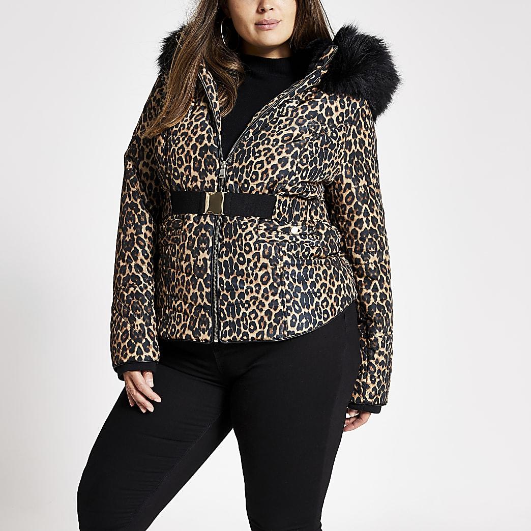 Plus brown leopard print padded jacket