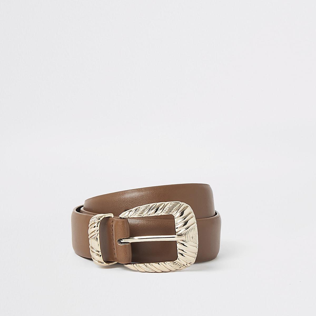Brown textured buckle belt