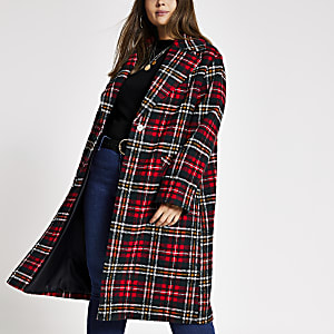 Plus - Manteau long tartan rouge à carreaux