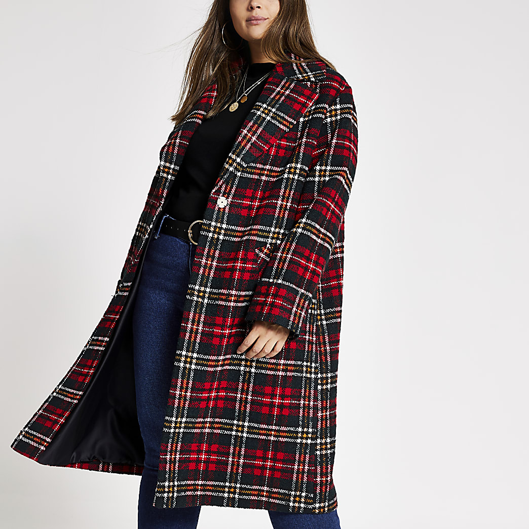 RI Plus - Rode lange jas met Schotse ruit