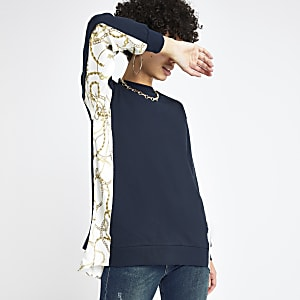 Navy chain print sweatshirt