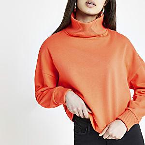 Pull côtelé orange à col montant