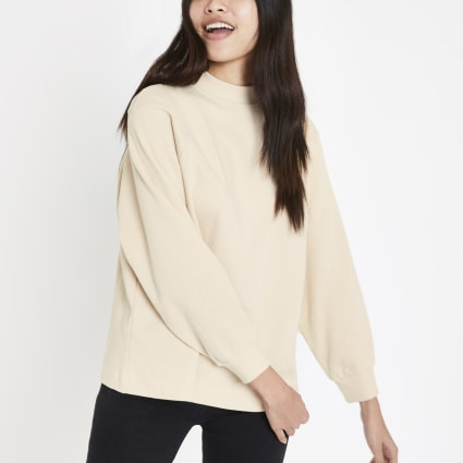 Beige high neck sweatshirt