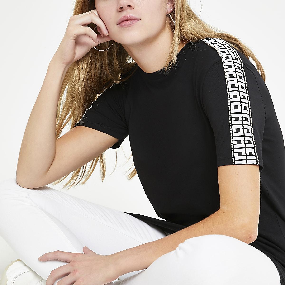 T-shirt RI noir à bordure à strass