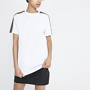 White RI rhinestone trim jumbo T-shirt