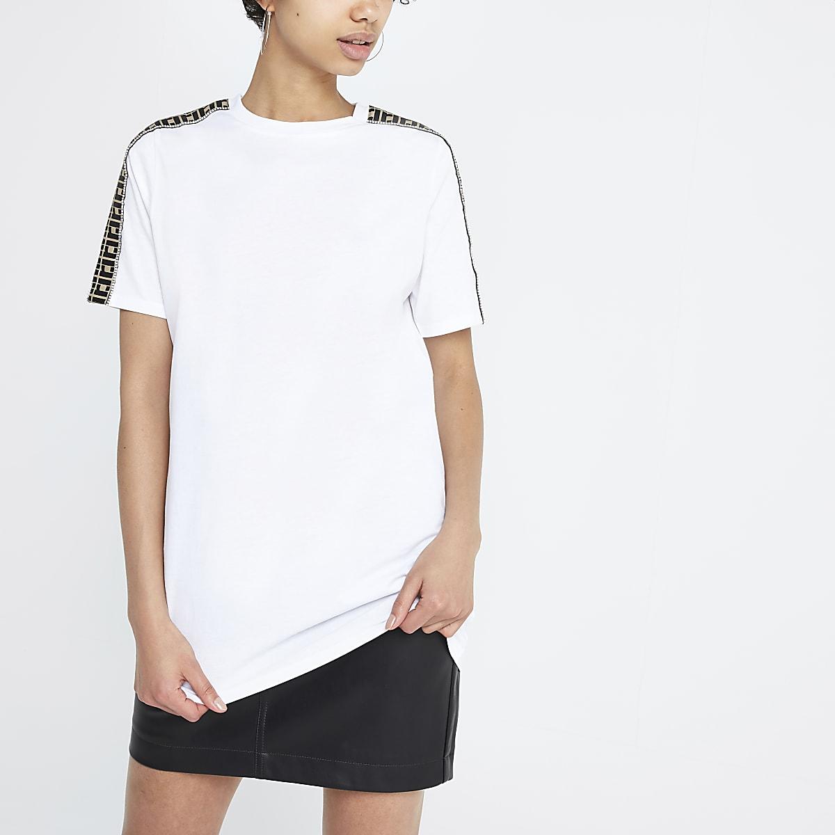 White RI diamante trim jumbo T-shirt