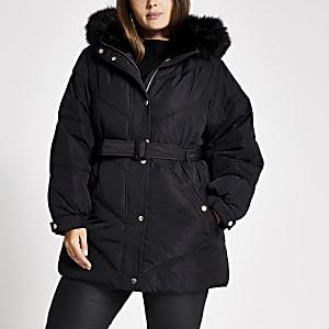 Plus Schwarzer, wattierter Mantel aus Kunstfell mit Kapuze und Gürtel