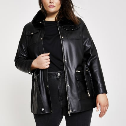 Plus black faux leather belted jacket