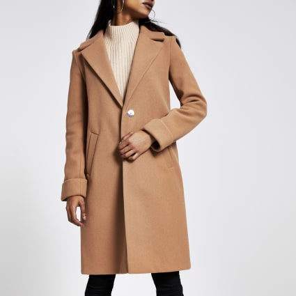Petite beige long sleeve coat