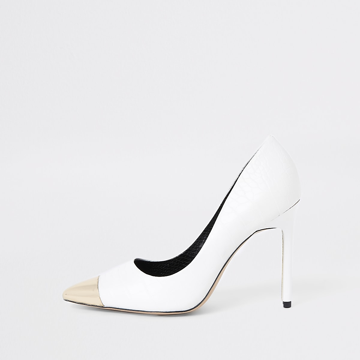 White metal toe court shoes
