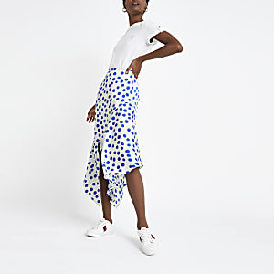 Blue spot asymmetric midi skirt
