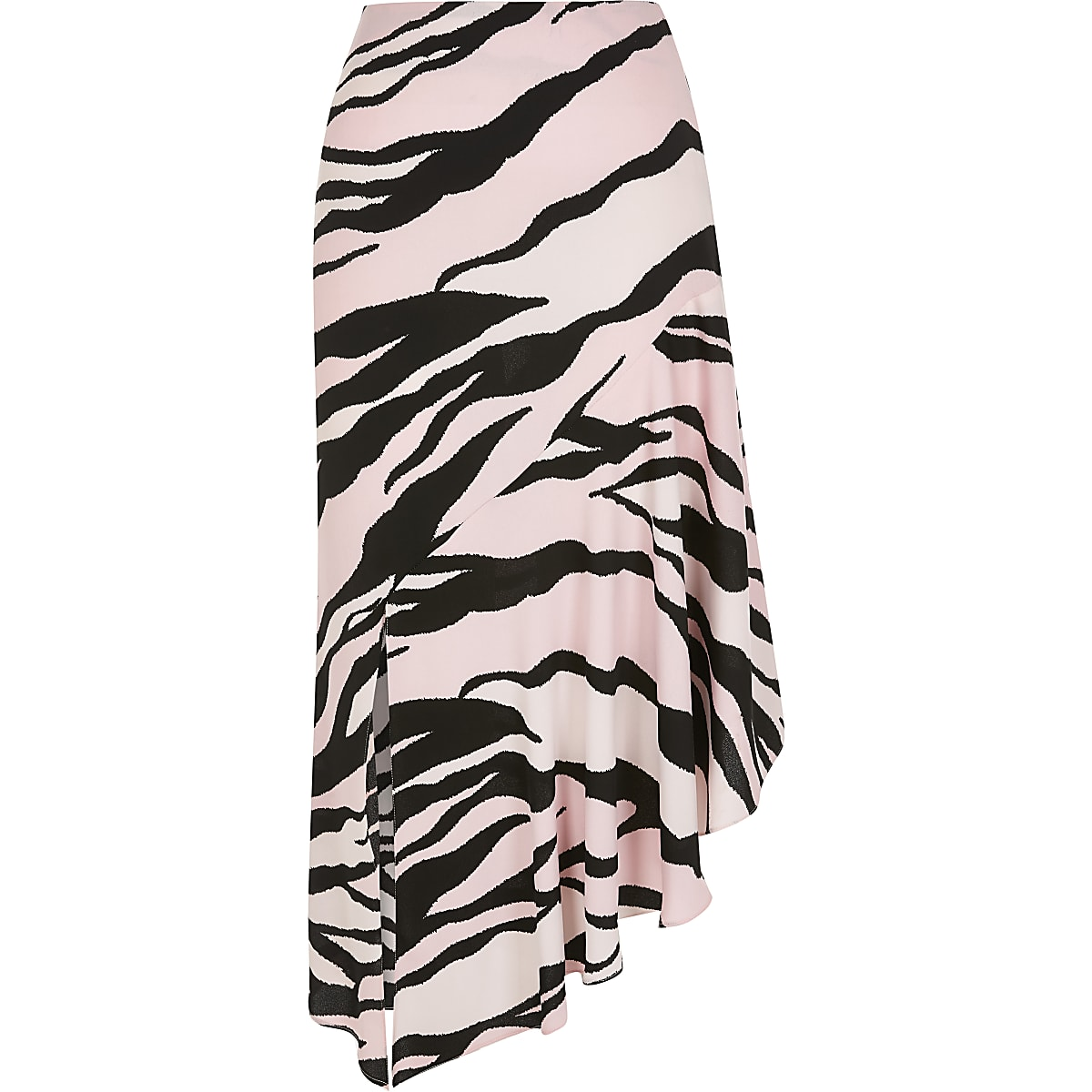 626bf07cb0 Light pink zebra print asymmetric midi skirt - Midi Skirts - Skirts ...